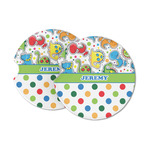 Dinosaur Print & Dots Sandstone Car Coasters (Personalized)