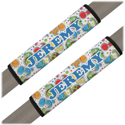 Dinosaur Print & Dots Seat Belt Covers (Set of 2) (Personalized)