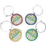 Dinosaur Print & Dots Wine Charms (Set of 4) (Personalized)