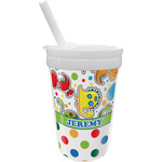 Dinosaur Print & Dots Sippy Cup with Straw (Personalized)