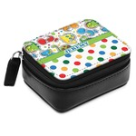 Dinosaur Print & Dots Small Leatherette Travel Pill Case (Personalized)
