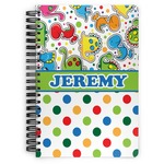 Dinosaur Print & Dots Spiral Bound Notebook (Personalized)