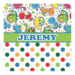 Dinosaur Print & Dots Square Decal - Custom Size (Personalized)