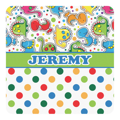 Dinosaur Print & Dots Square Decal (Personalized)