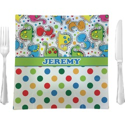 """Dinosaur Print & Dots Glass Square Lunch / Dinner Plate 9.5"""" - Single or Set of 4 (Personalized)"""