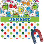 Dinosaur Print & Dots Square Fridge Magnet (Personalized)