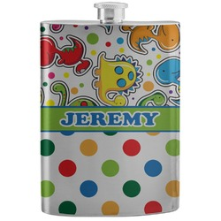 Dinosaur Print & Dots Stainless Steel Flask (Personalized)