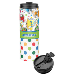 Dinosaur Print & Dots Stainless Steel Tumbler (Personalized)