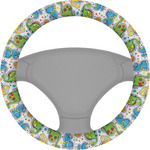Dinosaur Print & Dots Steering Wheel Cover (Personalized)