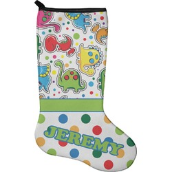 Dinosaur Print & Dots Christmas Stocking - Neoprene (Personalized)
