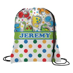 Dinosaur Print & Dots Drawstring Backpack (Personalized)