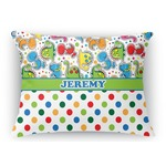 Dinosaur Print & Dots Rectangular Throw Pillow Case (Personalized)