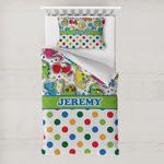 Dinosaur Print & Dots Toddler Bedding w/ Name or Text