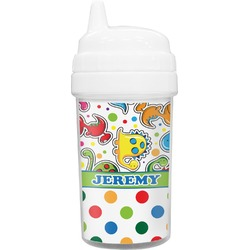 Dinosaur Print & Dots Toddler Sippy Cup (Personalized)