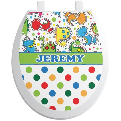 Dinosaur Print & Dots Toilet Seat Decal (Personalized)
