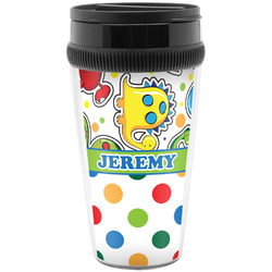 Dinosaur Print & Dots Travel Mug (Personalized)