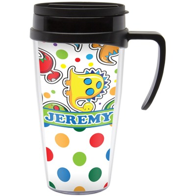 Dinosaur Print & Dots Travel Mug with Handle (Personalized)