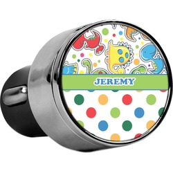 Dinosaur Print & Dots USB Car Charger (Personalized)