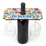 Dinosaur Print & Dots Wine Bottle & Glass Holder (Personalized)
