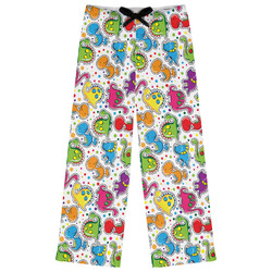 Dinosaur Print & Dots Womens Pajama Pants - XL (Personalized)