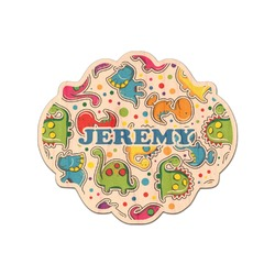 Dinosaur Print & Dots Genuine Wood Sticker (Personalized)