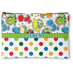 Dinosaur Print & Dots Zipper Pouch (Personalized)
