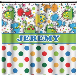 Dinosaur Print & Dots Shower Curtain (Personalized)