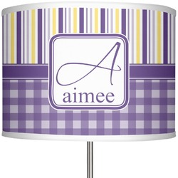 """Purple Gingham & Stripe 13"""" Drum Lamp Shade Polyester (Personalized)"""