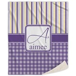 Purple Gingham & Stripe Sherpa Throw Blanket (Personalized)
