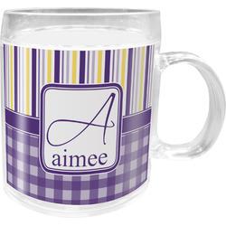 Purple Gingham & Stripe Acrylic Kids Mug (Personalized)