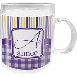 Purple Gingham & Stripe Acrylic Kids Mug (Personalized)