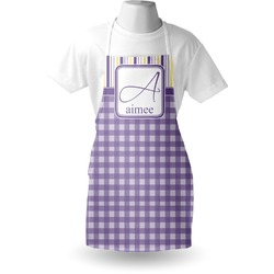 Purple Gingham & Stripe Apron (Personalized)