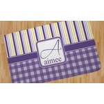 Purple Gingham & Stripe Area Rug (Personalized)