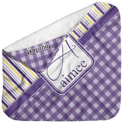 Purple Gingham & Stripe Baby Hooded Towel (Personalized)
