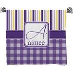 Purple Gingham & Stripe Bath Towel (Personalized)