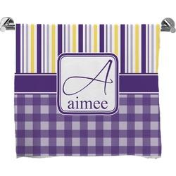 Purple Gingham & Stripe Full Print Bath Towel (Personalized)