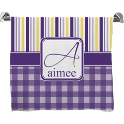 Purple Gingham & Stripe Full Print Bath Towel (Personalized)