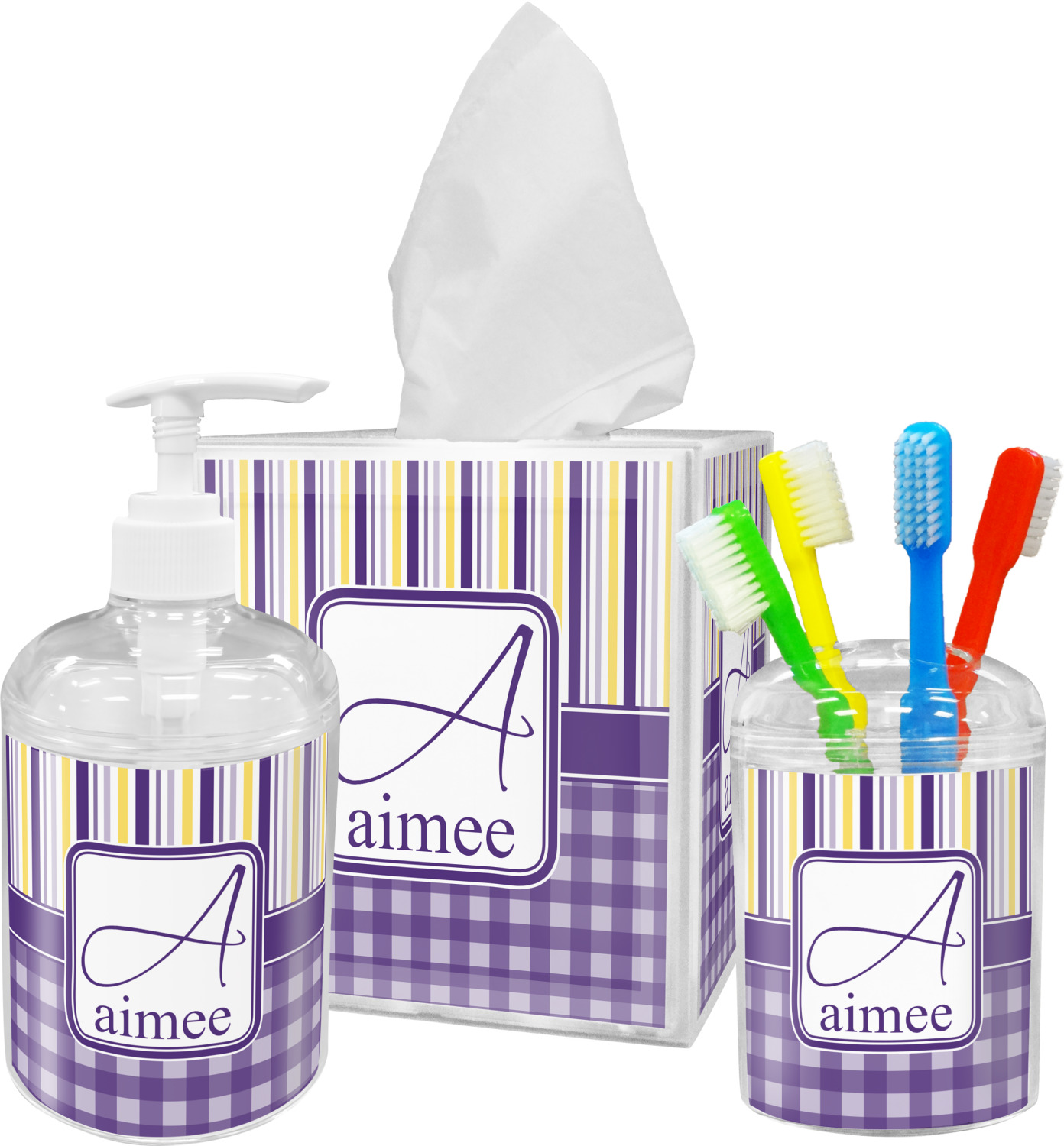 Purple Gingham & Stripe Bathroom Accessories Set (Personalized ...