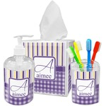 Purple Gingham & Stripe Acrylic Bathroom Accessories Set w/ Name and Initial