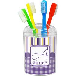 Purple Gingham & Stripe Toothbrush Holder (Personalized)