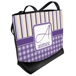 Purple Gingham & Stripe Beach Tote Bag (Personalized)