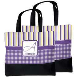 Purple Gingham & Stripe Beach Tote Bag (Personalized)