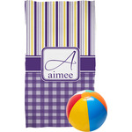 Purple Gingham & Stripe Beach Towel (Personalized)