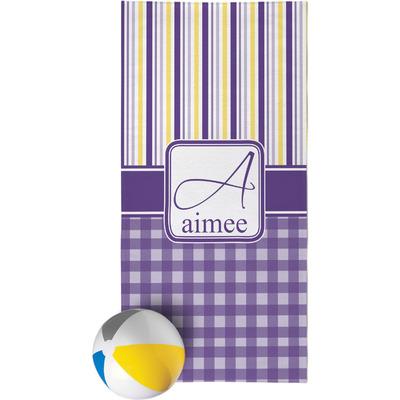 Purple Gingham & Stripe Beach Towel (Personalized)