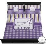 Purple Gingham & Stripe Duvet Cover Set (Personalized)