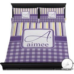 Purple Gingham & Stripe Duvet Cover Set (Personalized)