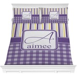 Purple Gingham & Stripe Comforter Set (Personalized)