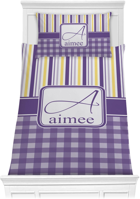 Purple Gingham & Stripe Comforter Set - Twin (Personalized ...