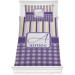 Purple Gingham & Stripe Comforter Set - Twin (Personalized)