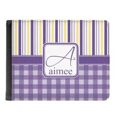 Purple Gingham & Stripe Genuine Leather Men's Bi-fold Wallet (Personalized)
